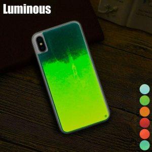 Estuche para teléfono híbrido líquido Luminous Quicksand que brilla en la oscuridad para teléfonos celulares inteligentes
