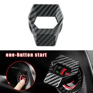Etiqueta engomada de la cubierta del interruptor del botón de arranque del motor de fibra de carbono Accesorios del coche