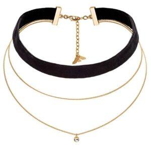 Fiorelli Fashion Collar de gargantilla con cadena chapada en oro y cristal de terciopelo negro
