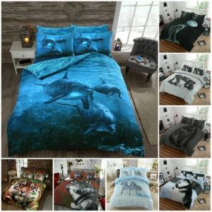 Funda de edredón con estampado de animales en 3D Fundas de almohada Juego de ropa de cama de edredón Rey doble individual