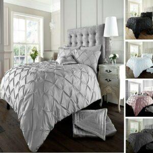 Funda nórdica 100% algodón egipcio 200TC Pintuck con juego de ropa de cama con funda de almohada