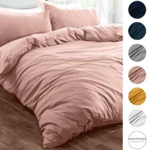 Funda nórdica de lino lavado con funda de almohada Brentfords Juego de cama Gris Ocre Blush