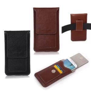 Funda universal de cuero de PU para teléfonos móviles, funda para billetera, bolsa para cintura, bolsa, cinturón