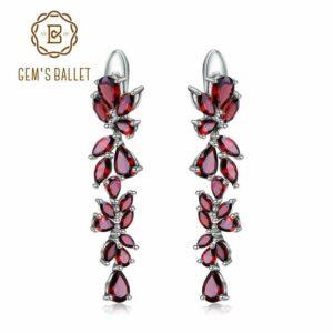 GEM'S BALLET 925 Sterling Sliver Leaves Elegantes pendientes colgantes para mujer