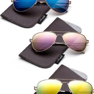Gafas de sol polarizadas de aviador para niños Lente de espejo Piloto Top Gun inspirado con bolsa