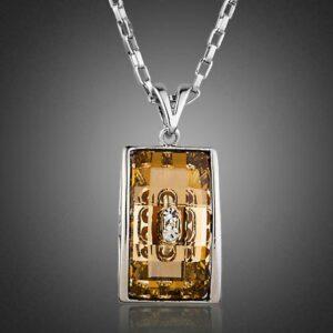 Geometric Champagne Pendant Necklace