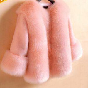 Girls Kid's Faux Fur Long Sleeve Jacket Coat Outwear Sweet Warm Fashion Winter
