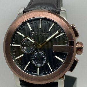 Gucci G-Chrono YA101202 Reloj cronógrafo con correa de cuero marrón para hombre