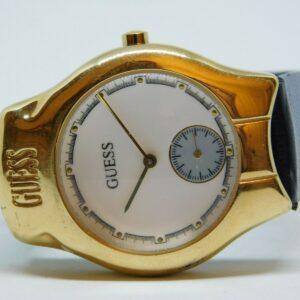 Guess 1992 Reloj analógico de cuarzo de cuero genuino para mujer