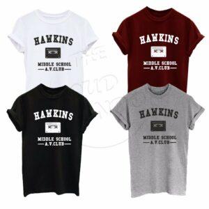 Hawkins Middle School AV Club Stranger Things - Camiseta unisex de moda para niños y adultos