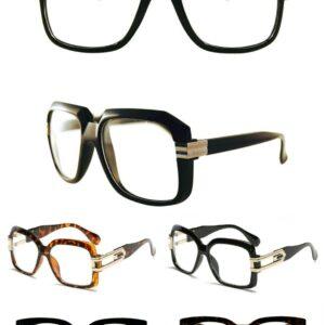 Hombres Mujeres estilo retro vintage Lentes transparentes Gafas con montura gruesa de moda negra