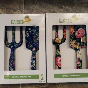 Home Garden Juego de herramientas para macizos de flores Kit floral de 2 piezas Equipo Pala y rastrillo NIP azul