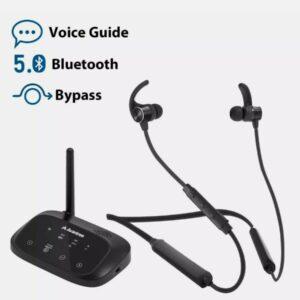 Juego de auriculares inalámbricos con banda para el cuello con transmisor Bluetooth de derivación