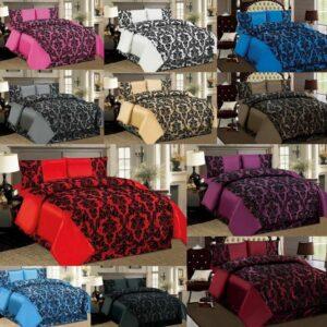 Juego de edredón con funda de edredón, fundas de almohada y sábana de cenefa Ropa de cama de seda sintética flocada