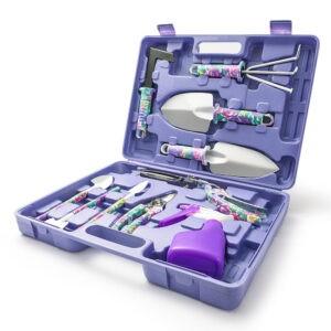 Juego de herramientas de jardín impreso, bolsa de equipo, pala, botella de espray de tijera de acero, 10 piezas