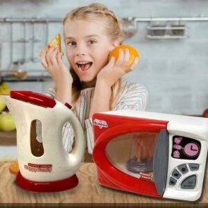 Juguete para el hogar para niños Juego de imaginación Electrodomésticos de cocina Horno de microondas y hervidor
