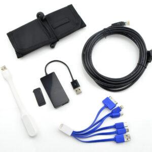 Kit de accesorios para trabajo desde casa: concentrador USB, luz, cubierta de cámara web, cable