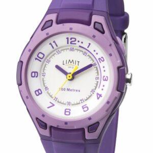 Limit Kid's Purple Sports Watch Correa de silicona y esfera blanca 5894