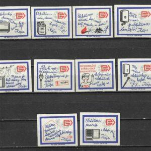 MATCHBOX LABELS CZECHOSLOVAKIA-Electrodomésticos Elektrina, juego de 10, años 60