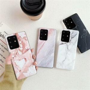 Mármol brillante suave para Samsung S20 S10e S10 S8 S9 Plus A51 A50 A71 Fundas para teléfonos