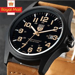 Men Women Military Leather Date Watches Quartz Analog Army Casual Wrist Watch UK