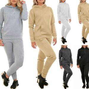 Mujeres Señoras 2 piezas Sudaderas con capucha Sudadera Joggers Lounge Wear Chándal Traje deportivo