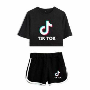 New Kids Crop Top Tik Tok Camiseta Shorts Sports Top + Pants Wear Conjunto Trajes