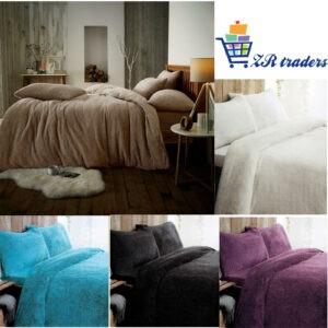New Teddy Bear Fleece Duvet Quilt Cover Pillow Case Warm Soft Cozy Bedding Set