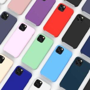 Nueva funda trasera mate de silicona líquida suave a prueba de golpes para iPhone de Apple