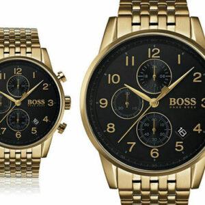 Nuevo reloj cronógrafo Hugo Boss Gold Navigator para hombre HB1513531