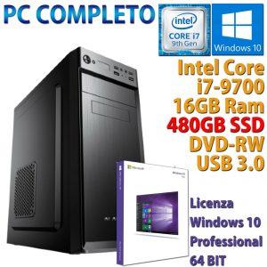 PC COMPUTADORA DE ESCRITORIO INTEL CORE i7-9700 RAM 16GB SSD 480GB DVD-RW HDMI WINDOWS 10