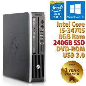 PC MINI ORDENADOR ESCRITORIO RICONDIZIONATO HP QUAD CORE i5-3470S RAM 8GB SSD 240GB