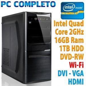PC ORDENADOR DE ESCRITORIO FISSO ASSEMBLATO INTEL QUAD CORE RAM 16GB HDD 1TB DVD WIFI