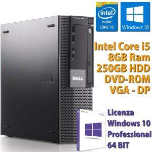 PC ORDENADOR DE ESCRITORIO FISSO DELL RICONDIZIONATO CORE i5-650 8GB 250GB WIN 10 PRO