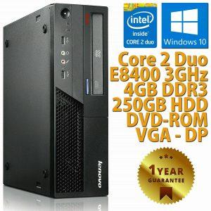 PC ORDENADOR DE ESCRITORIO RICONDIZIONATO LENOVO M58P DUAL CORE RAM 4GB 250GB WIN 10