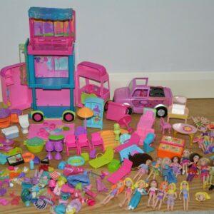 Paquete Polly Pocket - Autobús, coche, 16 muñecas, ropa, muebles, accesorios ...