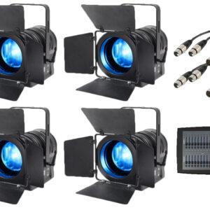 Paquete de luces LED Fresnel eLumen8 MP75 RGBW de 4 x inc.  Escritorio de iluminación y cables DMX