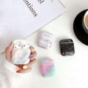Para Apple Airpods Protector de auriculares Patrón de mármol a prueba de golpes Funda rígida