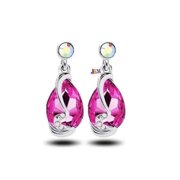 Pendientes de cristal plateados plateados Diamante de imitación Pendiente de aro colgante para mujer