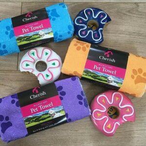 Perro Suministros para mascotas Toalla de microfibra de rosquilla de juguete chillón Elija azul Amarillo Morado