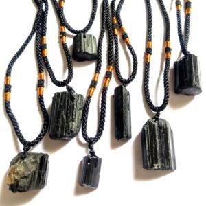 Piedra natural turmalina cuarzo colgante de piedras preciosas cristal chakra collar joyería