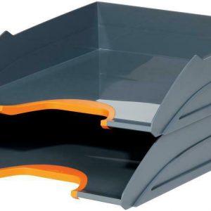 Productos de oficina duraderos - 770209 - Juego de bandejas para cartas varicolor, 2 piezas, naranja