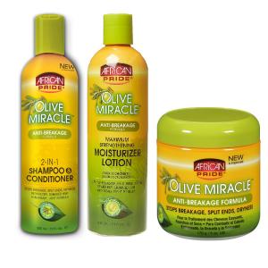 Productos para el cuidado del cabello African Pride Olive Miracle (champú + loción + crema de oliva)