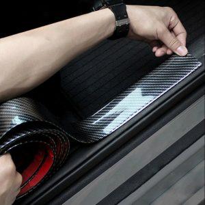 Protector de borde de fibra de carbono para coche, protector de umbral de puerta de parachoques, accesorios negros