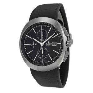 Rado D-Star Reloj automático para hombre con esfera negra y cuero negro R15556155