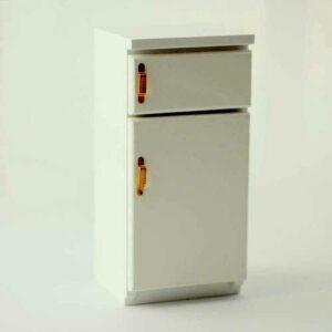 Refrigerador con congelador con manijas de latón, electrodomésticos de cocina en miniatura de la casa de muñecas