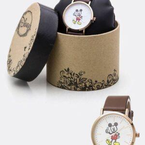 Reloj clásico con correa de piel de Mickey