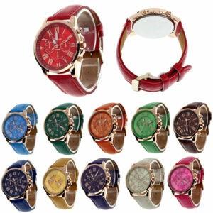 Reloj de pulsera analógico de cuarzo de acero inoxidable de cuero para hombre de moda para mujer
