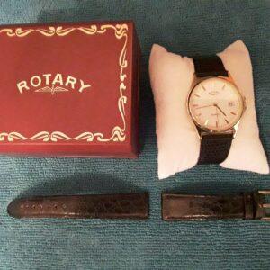 Reloj de vestir delgado giratorio para hombre, en caja con 2 correas de cuero
