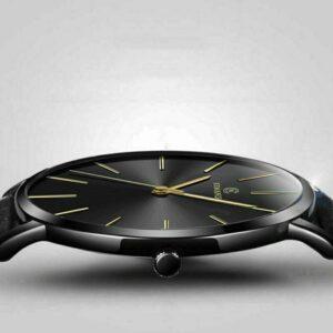 Reloj minimalista de moda para hombre Correa de cuero ultradelgada Acero inoxidable Cuarzo 6.5